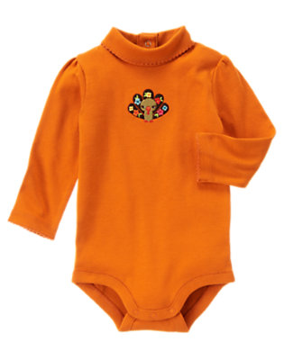 Harvest Orange Flower Turkey Turtleneck Bodysuit/Tee Shirt by Gymboree
