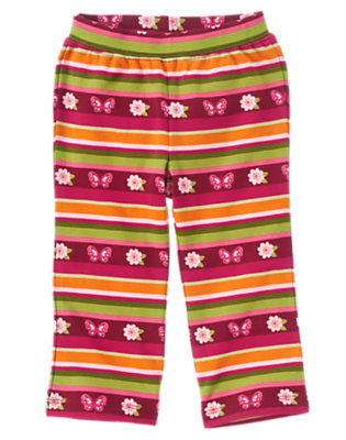 Pomegranate Red Stripe Butterfly Stripe Knit Pant by Gymboree