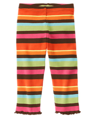 Toddler Girls Poppy Orange Stripe Stripe Legging by Gymboree