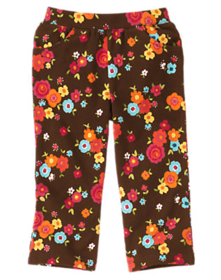 Toddler Girls Forest Brown Floral Flower Knit Pant by Gymboree