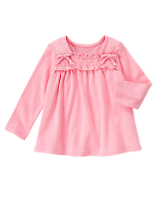 Poodle Pink Smocked Long Sleeve Top by Gymboree