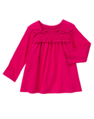 Chic Pink Smocked Long Sleeve Top by Gymboree