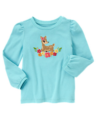 Lake Blue Gem Flowers Deer Tee by Gymboree