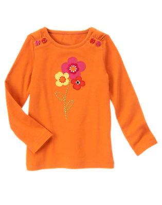 Pumpkin Orange Flower Button Tee by Gymboree