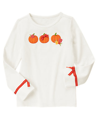 Ivory Pumpkin Bow Tee by Gymboree