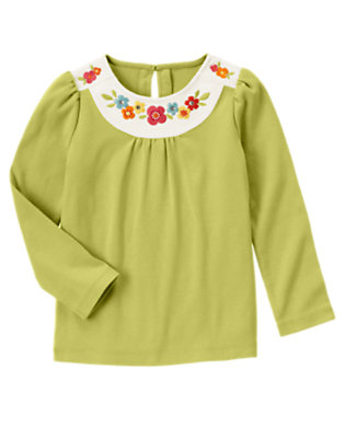Acorn Green Gem Embroidered Flower Tee by Gymboree