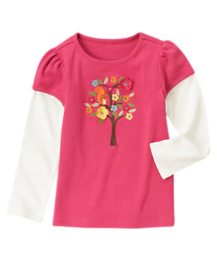 Autumn Pink Gem Squirrel Tree Double Sleeve Tee by Gymboree