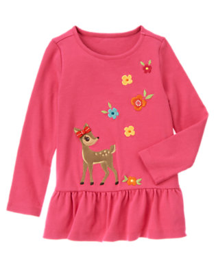 Autumn Pink Deer Flowers Tunic Top by Gymboree