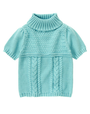 Girls Lake Blue Cable Turtleneck Sweater by Gymboree