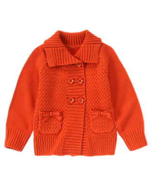 Girls Poppy Orange Bow Pocket Sweater Cardigan by Gymboree