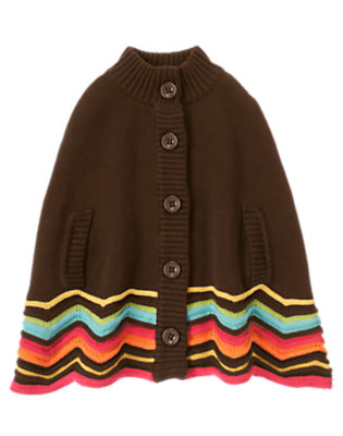 Forest Brown Zigzag Stripe Sweater Cape by Gymboree