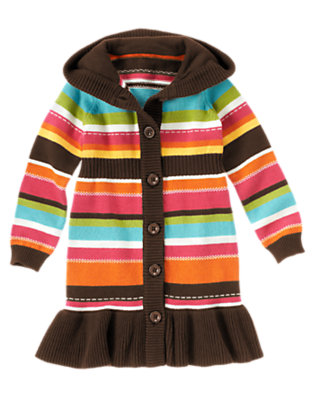 Girls Poppy Orange Stripe Stripe Hooded Sweater Duster by Gymboree