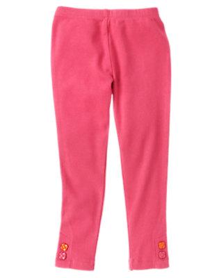 Girls Autumn Pink Flower Button Cuff Legging by Gymboree