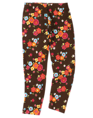 Girls Forest Brown Floral Flower Legging by Gymboree