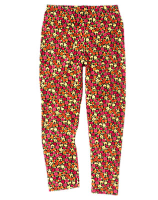 Girls Forest Brown Mini Floral Mini Flower Legging by Gymboree