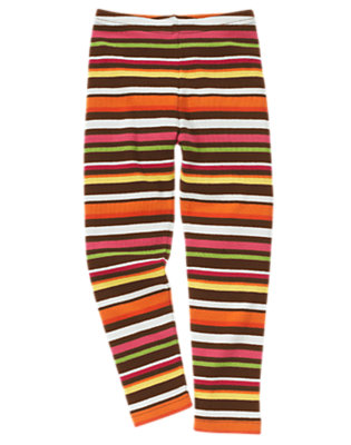 Girls Forest Brown Stripe Stripe Legging by Gymboree