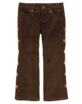 Forest Brown Embroidered Flower Corduroy Pant by Gymboree