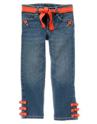 Girls Denim Bow Hem Belted Jean by Gymboree