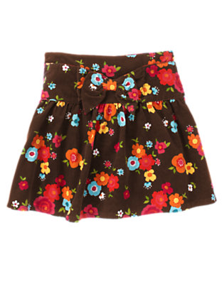 Forest Brown Floral Flower Corduroy Skort by Gymboree