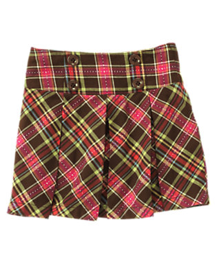 Girls Forest Brown Plaid Pickstitched Plaid Pleated Skort by Gymboree