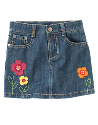 Girls Denim Flower Jean Skort by Gymboree