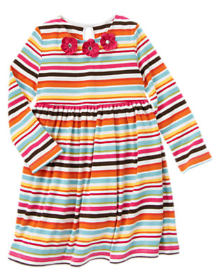 Girls Lake Blue Stripe Gem Flower Stripe Dress by Gymboree