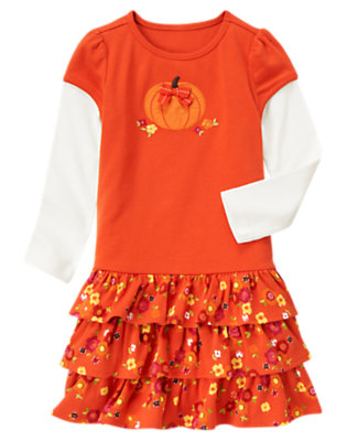 Girls Poppy Orange Pumpkin Flower Double Sleeve Dress by Gymboree