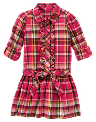 Girls Autumn Pink Plaid Ruffle Plaid Shirt Dress by Gymboree