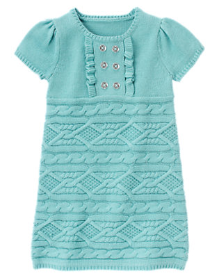 Girls Lake Blue Gem Button Cable Sweater Dress by Gymboree