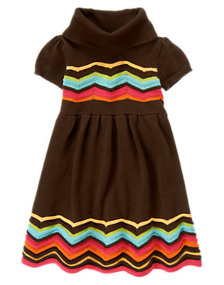 Girls Forest Brown Zigzag Stripe Sweater Dress by Gymboree
