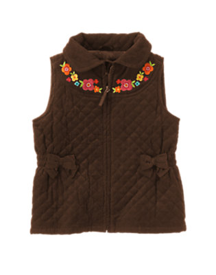 Girls Forest Brown Flower Quilted Corduroy Vest by Gymboree