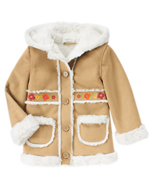 Girls Camel Flower Faux Shearling Coat by Gymboree