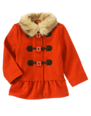 Poppy Orange Faux Fur Collar Toggle Coat by Gymboree