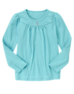 Lake Blue Gem Button Tee by Gymboree