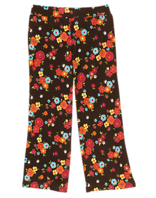Girls Forest Brown Floral Flower Flare Pant by Gymboree