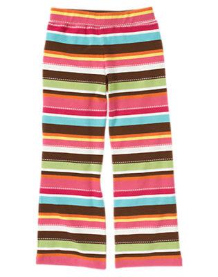 Girls Autumn Pink Stripe Stripe Flare Pant by Gymboree