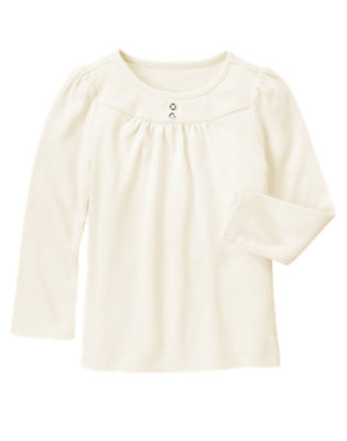 Vanilla Ivory Gem Button Tee by Gymboree