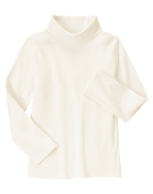 Girls Vanilla Ivory Turtleneck Top by Gymboree