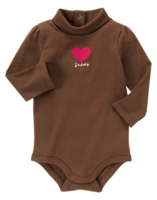 Coco Brown J'adore Heart Turtleneck Bodysuit/Tee Shirt by Gymboree