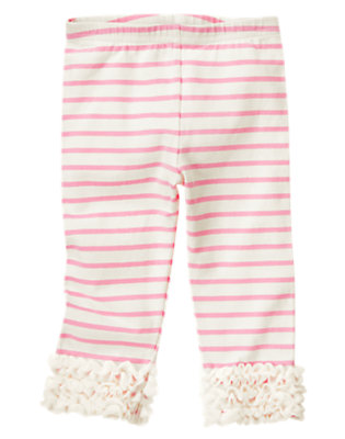 Girls Poodle Pink/Ivory Stripe Stripe Tulle Ruffle Legging by Gymboree