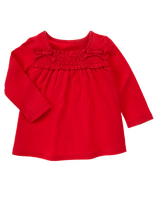 Cheery Red Smocked Long Sleeve Top by Gymboree