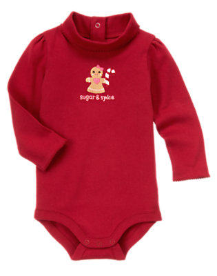 Cranberry Red Gingerbread Girl Turtleneck Bodysuit/Tee Shirt by Gymboree