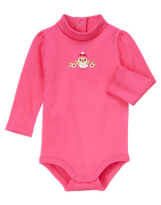 Cozy Pink Flower Owl Turtleneck Bodysuit/Tee Shirt by Gymboree