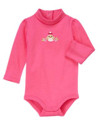 Cozy Pink Flower Owl Turtleneck Bodysuit/Tee Shirt by Gymboree