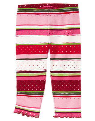 Toddler Girls Cranberry Red Fair Isle Fair Isle Stripe Legging by Gymboree
