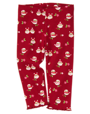 Toddler Girls Cranberry Red Owl Owl Legging by Gymboree