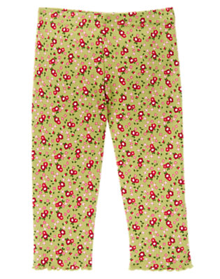 Toddler Girls Apple Green Floral Flower Legging by Gymboree