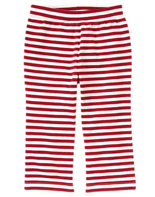 Cranberry Red/Ivory Stripe Stripe Knit Pant by Gymboree