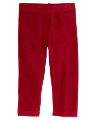 Toddler Girls Cranberry Red Velour Legging by Gymboree