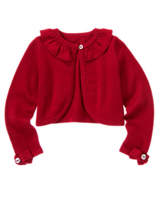 Girls Holiday Red Ruffle Crop Sweater Cardigan by Gymboree